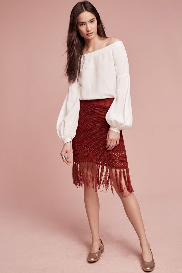 Moon River Fringeknit Skirt