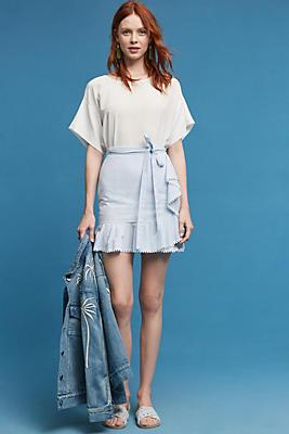 Slide View: 1: Ruffled Hem Poplin Skirt