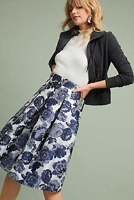 Slide View: 1: Metallic Jacquard Skirt