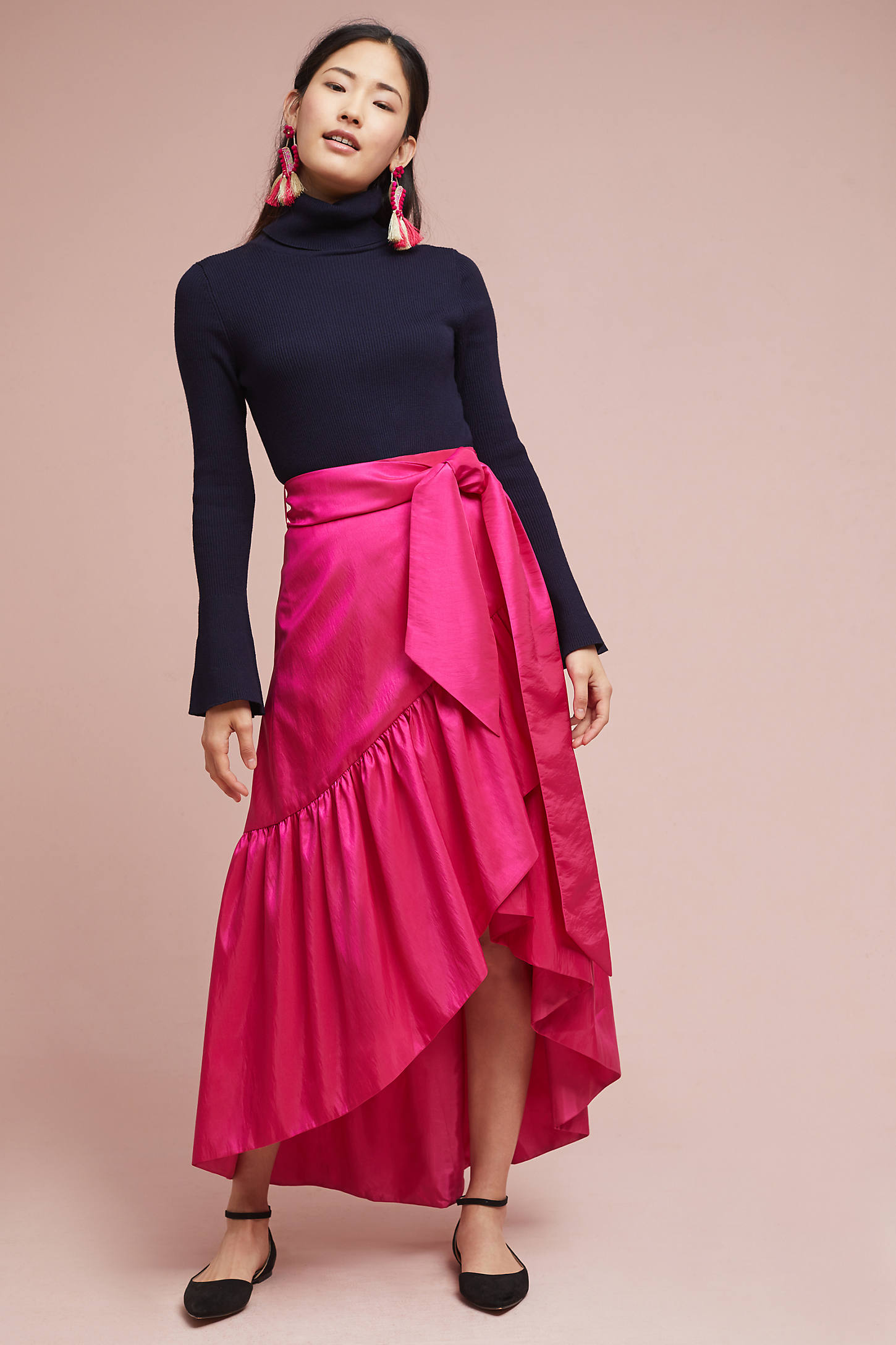 Ruffled Silk Skirt