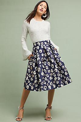 Slide View: 1: Jacquard Leopard Skirt
