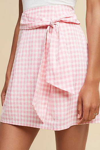 Tie-Front Gingham Mini Skirt
