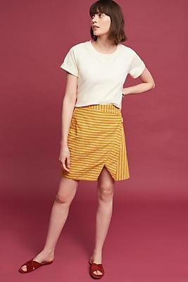 Slide View: 1: Striped Wrap Mini Skirt