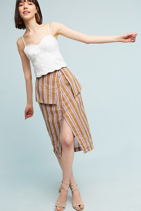 Abella Striped Skirt, Orange - Yellow Motif, Size L