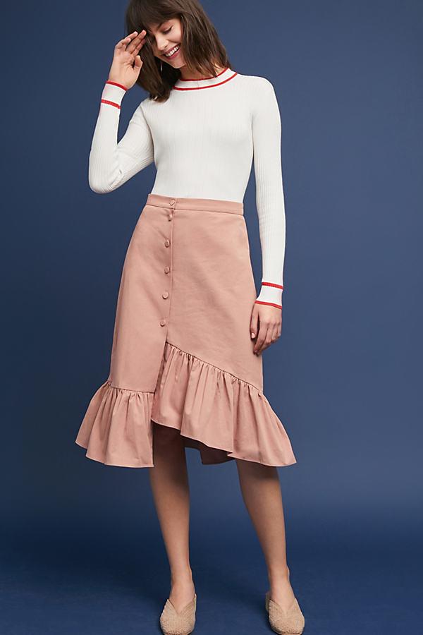 Riley Ruffled Skirt - Pink, Size Xs