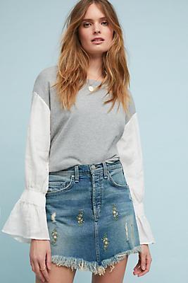 Slide View: 1: McGuire Embroidered Denim Mini Skirt