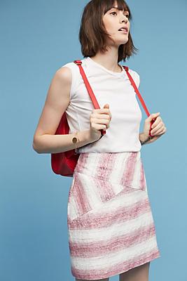 Slide View: 1: Sketched-Stripe Mini Skirt