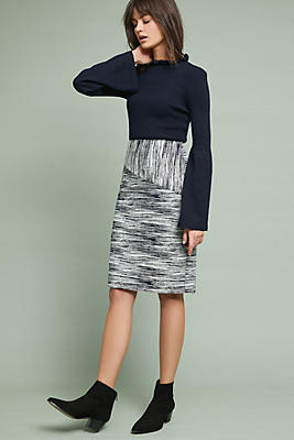 Slide View: 1: Jacquard Stripe Pencil Skirt