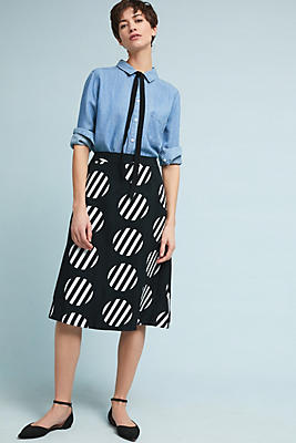 Slide View: 1: Polka Dot A-Line Skirt
