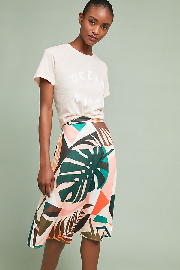 Slide View: 1: Tropical A-Line Skirt