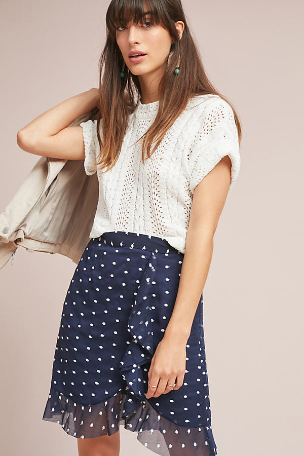 Ruffled Clip Dot Mini Skirt - Blue, Size Uk 6
