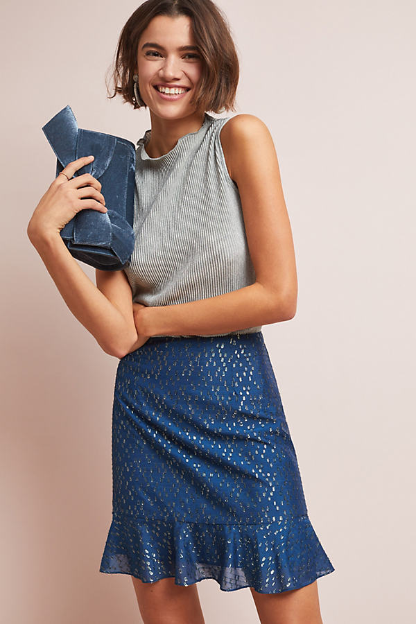 Metallic Mini Skirt - Blue, Size Xl