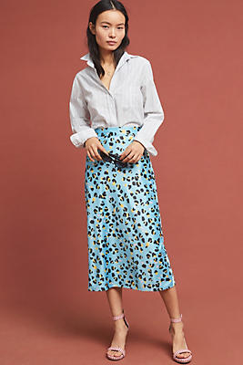 Slide View: 1: Eclectic Leopard Midi Skirt