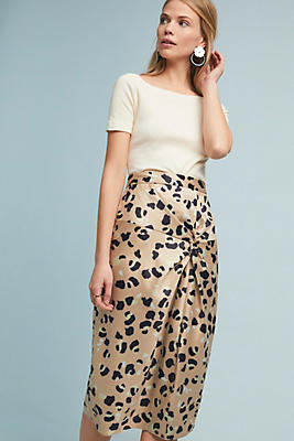 Slide View: 1: Twisted Leopard Skirt