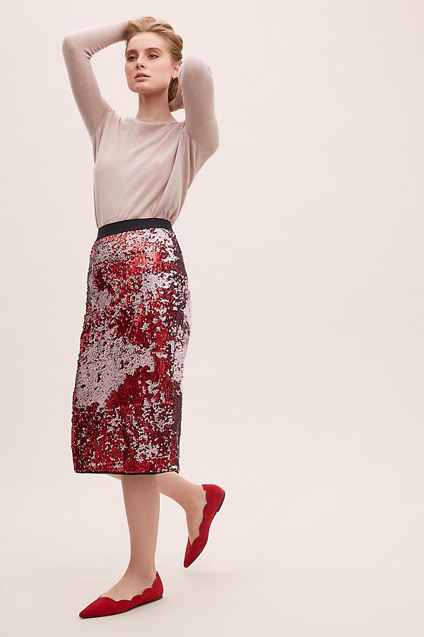 Essentiel Sequin-Embellished Pencil Skirt - Pink, Size Uk 16