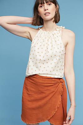 Slide View: 2: Tie-Side Wrap Mini Skirt