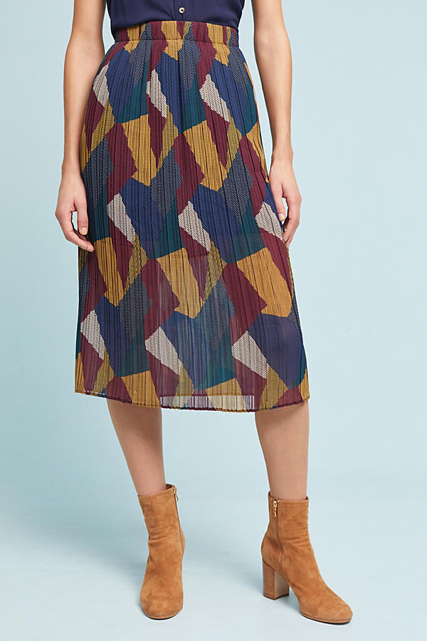 Slide View: 2: Contrast Pleated Skirt