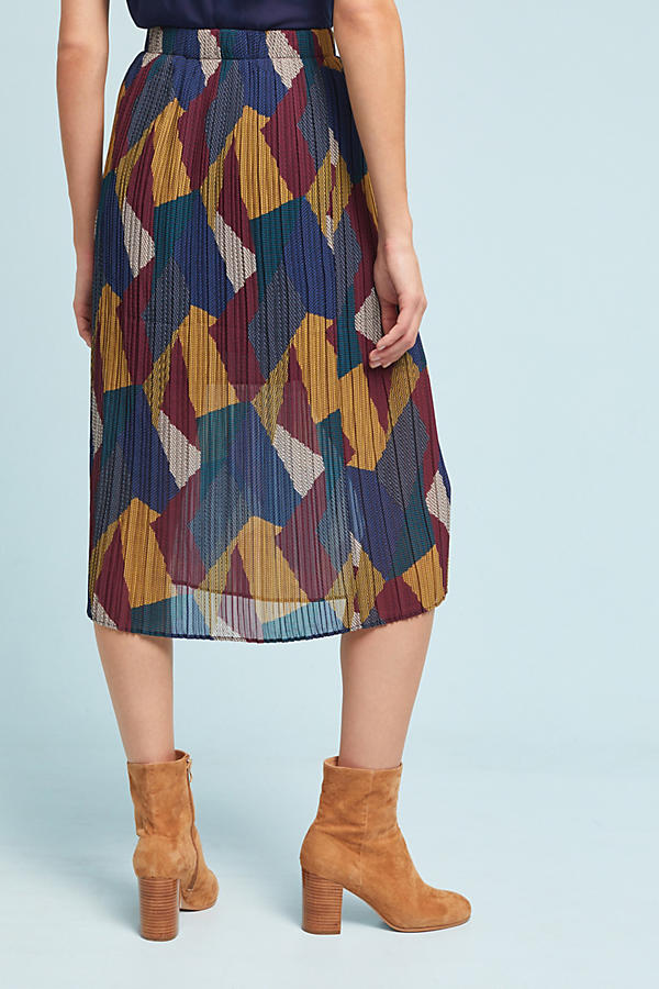 Slide View: 4: Contrast Pleated Skirt