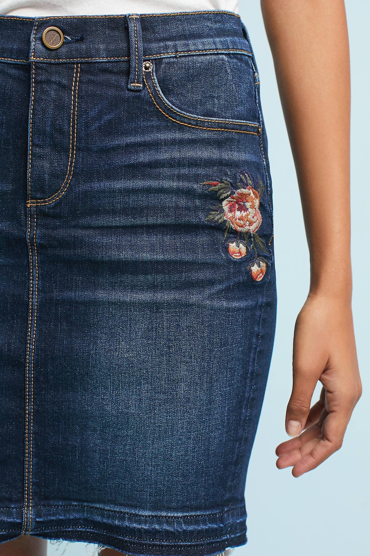 Rosa Embroidered Denim Skirt