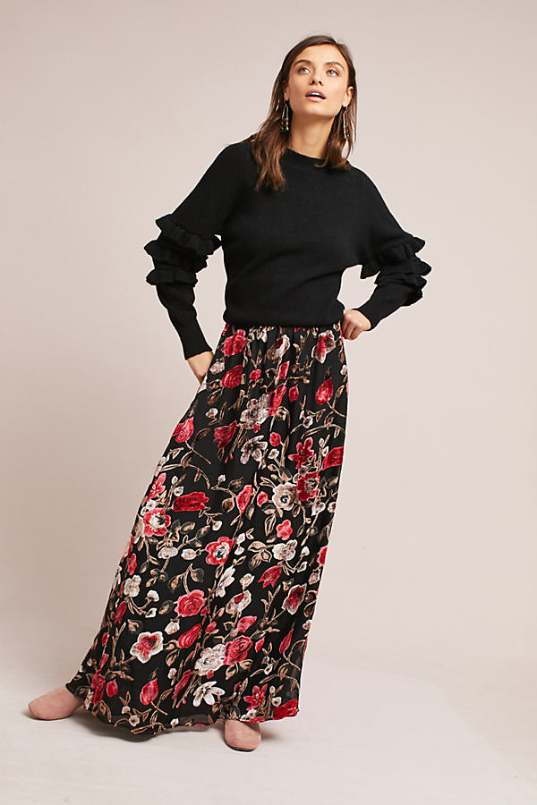 Leana Floral Burnout Maxi Skirt - Red Motif, Size Xs