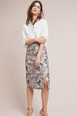 Slide View: 1: Clarissa Jacquard Pencil Skirt