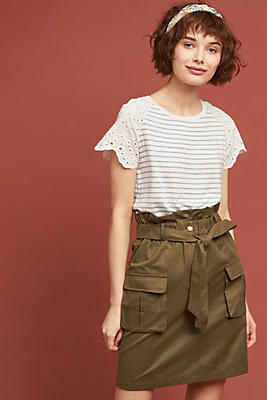 Slide View: 1: Paperbag-Waisted Utility Skirt