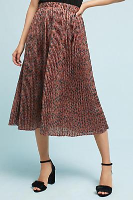 Slide View: 1: Pleated Leopard Skirt