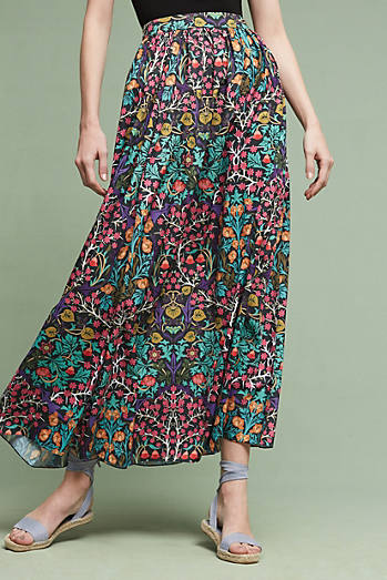 Venita Printed Maxi Skirt, Purple