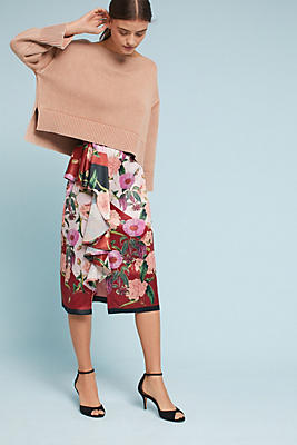 Slide View: 1: Anais Ruffled Floral Pencil Skirt