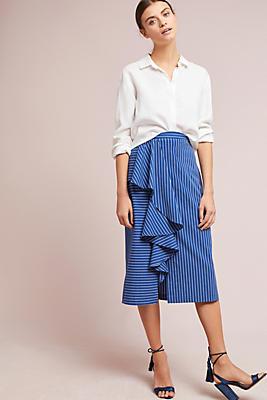 Slide View: 1: Anais Ruffled Striped Pencil Skirt