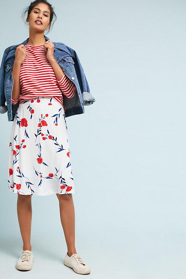 Poppy Fields Skirt - Red Motif, Size L