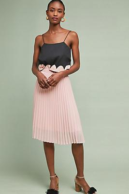 Slide View: 1: Pleated Shine Midi Skirt