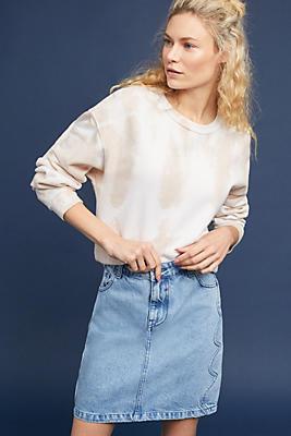 Slide View: 1: Slim Washed Denim Skirt