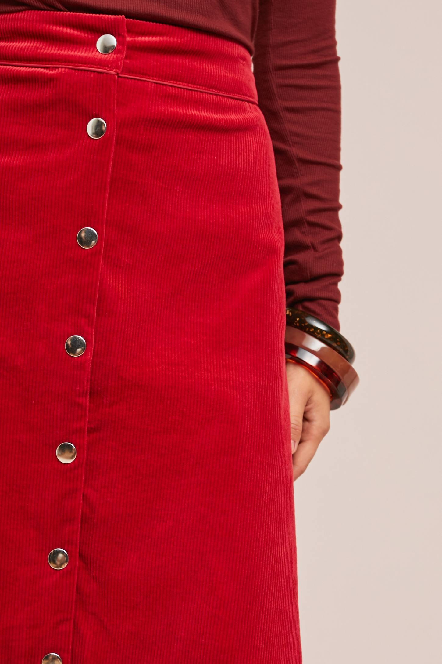 Corduroy Buttondown Skirt   Anthropologie