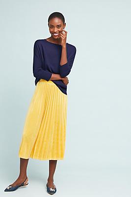 Slide View: 1: Pleated Velvet Midi Skirt