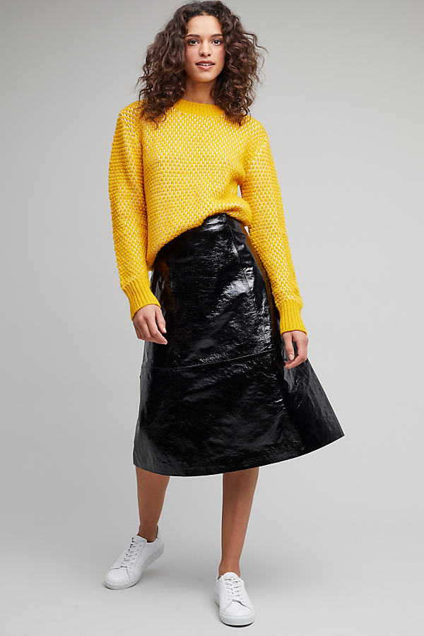 Zaha Patent Leather Midi Skirt - Black, Size S