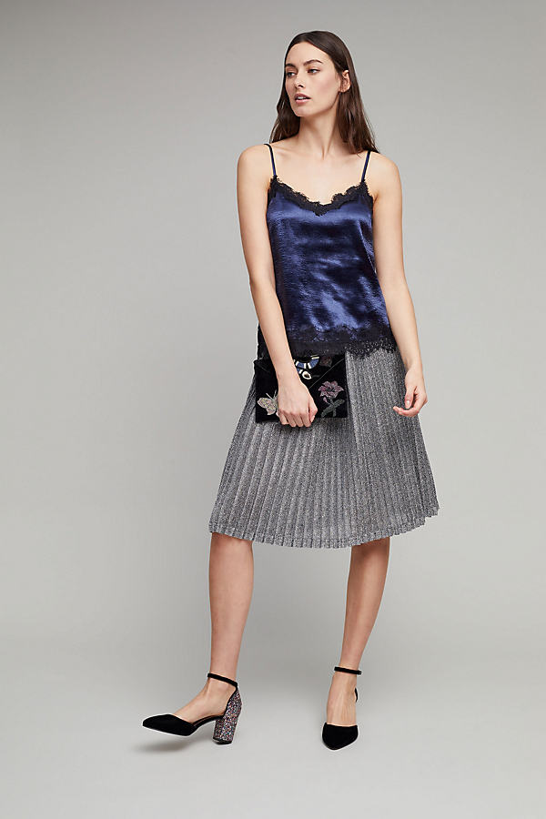Lemaire Metallic Knit Pleated Skirt - Silver, Size S