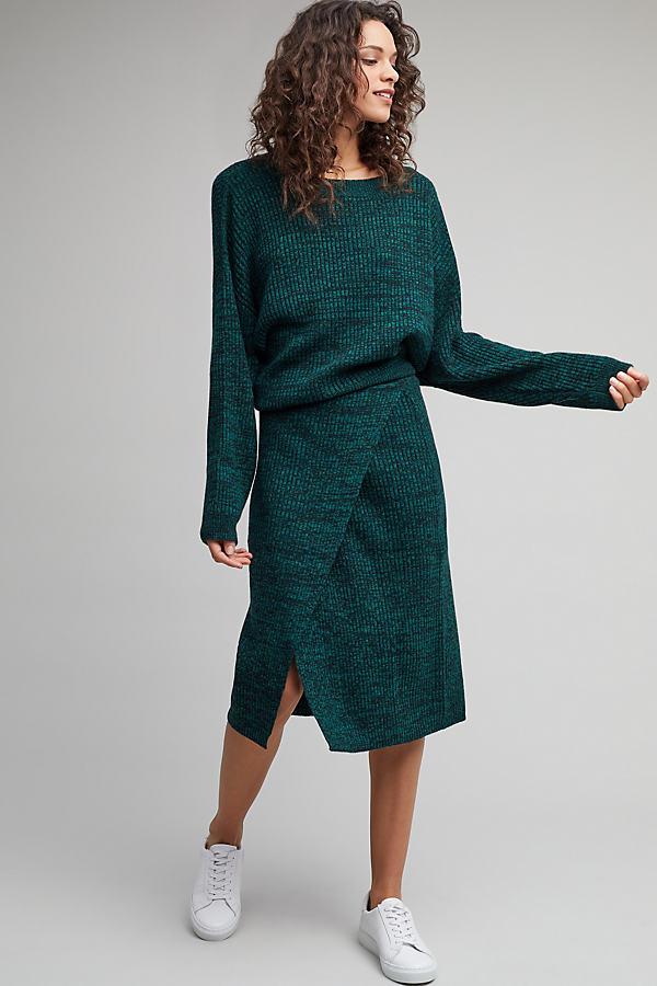 Corn Knitted Wrap Skirt, Green - D Green, Size M