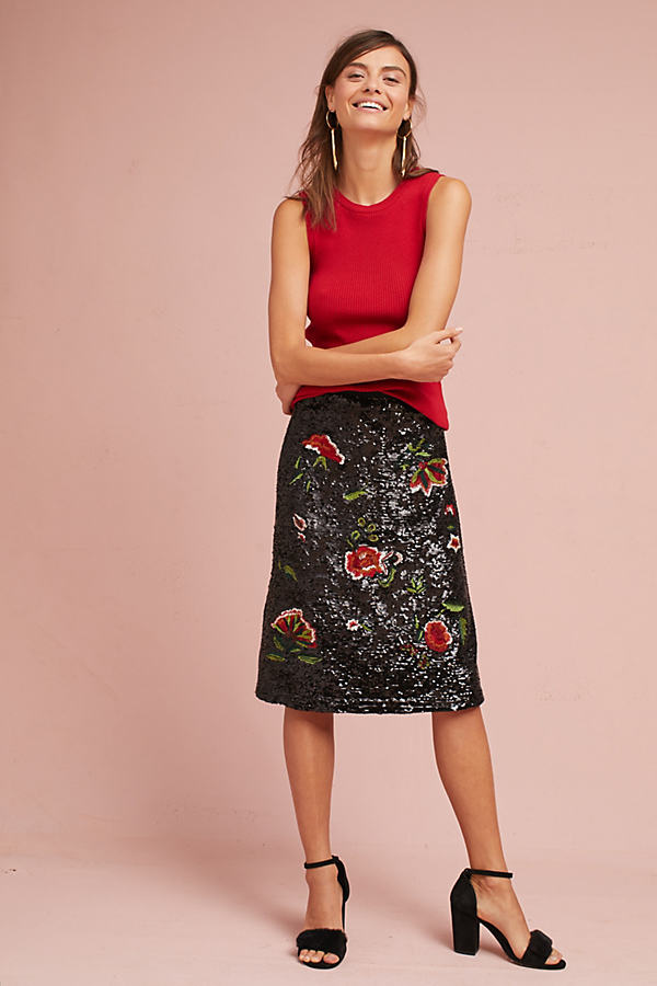 Garden Glitz Skirt - Black Motif, Size Uk 8