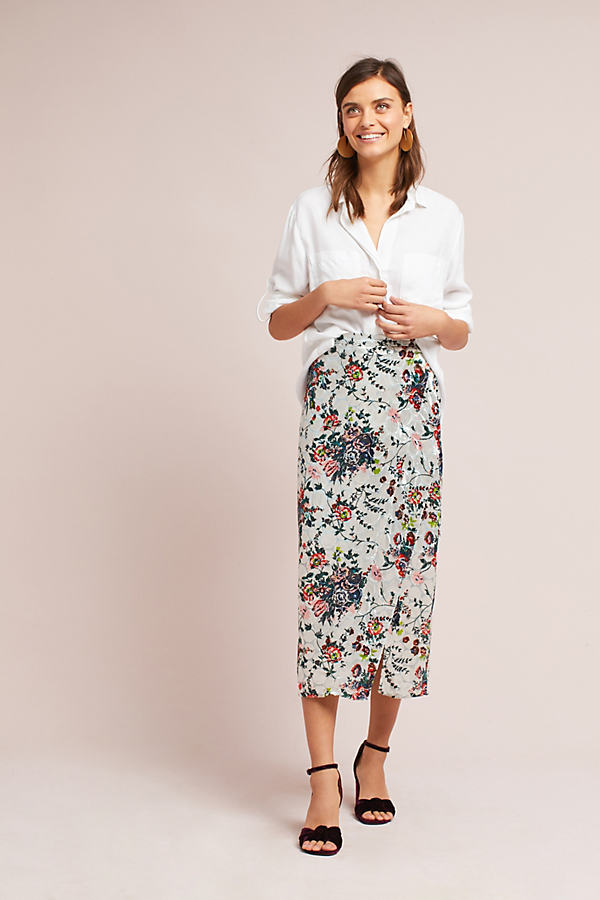 Evie Velvet Floral Pencil Skirt - Sky, Size Uk 8