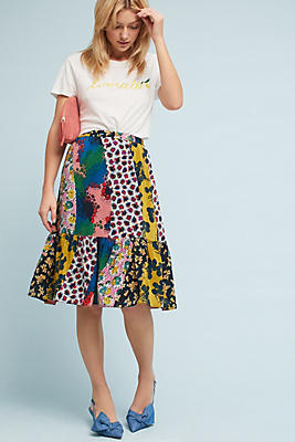 Slide View: 1: Flounced Patchwork Skirt