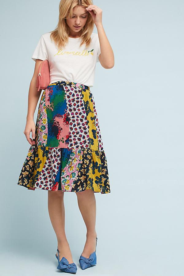 Elwynn Mixed Print Silk Midi Skirt - Pink, Size Xs