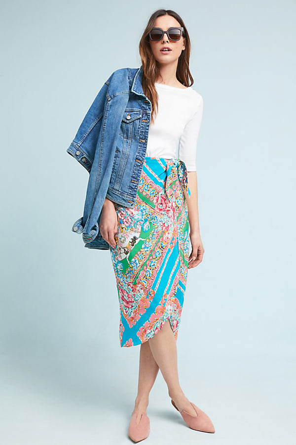 Bette Wrap Skirt - Turquoise, Size Uk 10