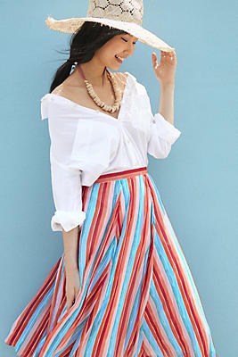 Slide View: 1: Claremont Pleated Midi Skirt