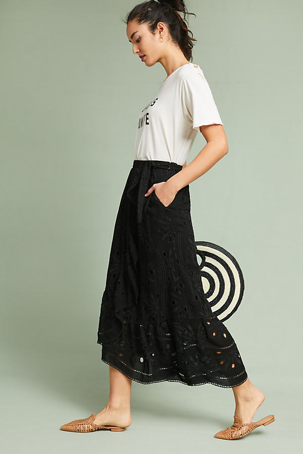 Nicia Eyelet Wrap Maxi Skirt - Black, Size Uk 14