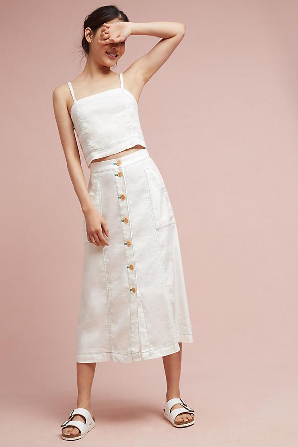 Riverine Midi Skirt, White - White, Size Uk12