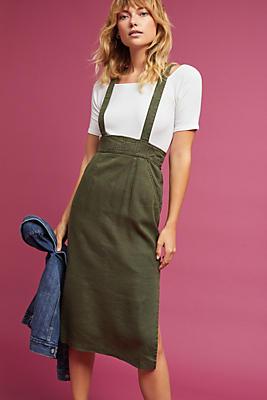Slide View: 1: Linen Suspender Skirt