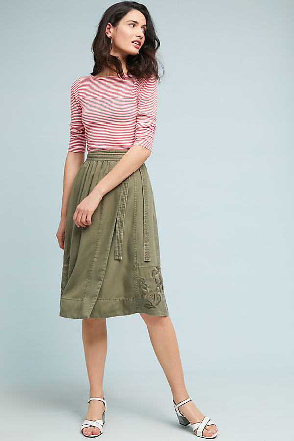 Embroidered Chino Skirt - Green, Size Xs