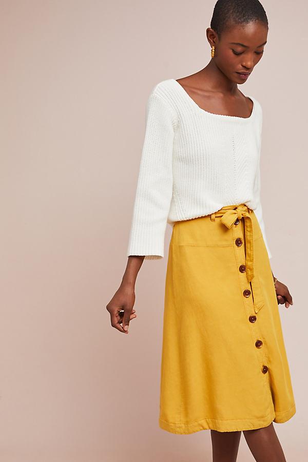 Lanai Chino Skirt - Yellow, Size Uk 6