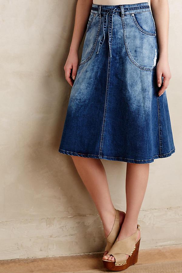 Pilcro Distressed Denim Midi Skirt | Anthropologie